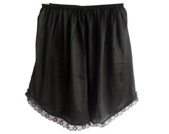 PPNABK  Classic BLACK Pettipants Half Slips Shorts Nylon Lace Floral Lingerie Women