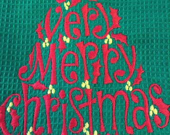 A Very Merry Christmas Towel. A waffle weave kitchen towel.