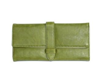 Women's Green Leather Wallet, Women's Green Leather Purse, Leather Wallet, Leather Purse, Green wallet, Green Purse , Womens wallet