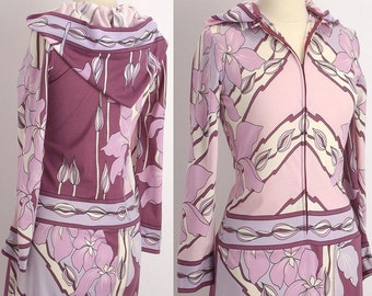 Vintage 60s Paganne Pucci Designer No Other Hooded Maxi Abstract Hippie Boho