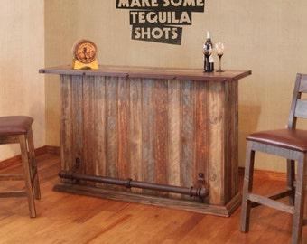 custom wood bar and stools