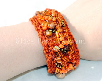 "Crochet bracelet, crocheted, Arm jewellery ""Indian Summer"""