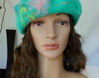 SALE,  DISCOUNT,  Sales,  Felted beret, merino wool , unique women hat ,ready to  be shipped, hand felted hat, warm