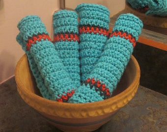 Washcloths or Dishcloths Qty of 4 Turquoise with Stripes