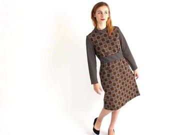 vintage 1960s geometric mod dress - brown & black game board pattern - futuristic dress - womens size medium large