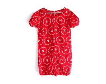 go big red romper . Husker red Nebraska football jumper . girls one piece outfit . juniors romper