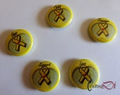 Yellow Awareness Ribbon Button Pins