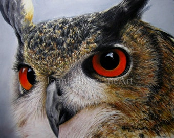 Eagle owl painting, owl picture, owl print from my original pastel painting.
