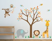 Safari Nursery wall decal- Reusable, Reposition, Wall decal, Children's room, Nursery wall decals, Owls, giraffe, monkey - SolanaGraphicStudios