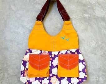 Handbag on SALE, Kimono fabric tote bag, Yellow tote bag, Purple handbag, Ladies Handbag with pockets, Fabric Shoulder Bag - Purple Dreams