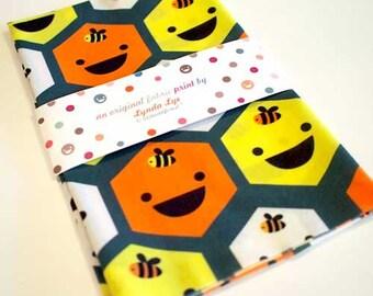 Happy Honeycomb Beehive Bees Fabric FAT QUARTER