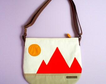 SALE ITEM - Fabric Crossbody Bag, Zip Shoulder Bag, Crossbody Sling Bag, Sling Bag For Woman, Crossbody Vegan Purse, SUNSET Mountains