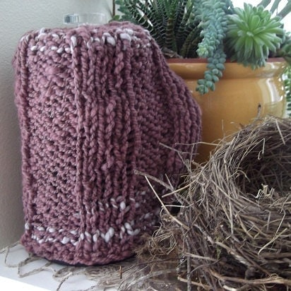 French Knitting Patterns : French Press Cozy Knitting Pattern PDF for Ribbed and Felted
