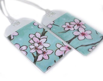 Spring Sakura Luggage Tags, set of two cherry blossom print baggage or diaper bag tags