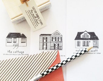 Custom House Address Rubber Stamp - Custom Address Stamp - Custom House Drawing