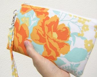 Wedding Clutch 2 pockets, medium,cotton, blue, discount plan set - Rose bouquet in amber