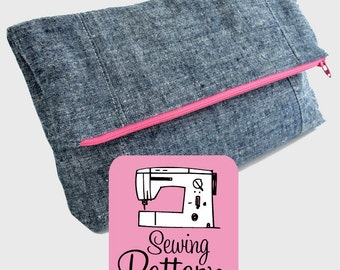 Fold-Over Clutch PDF Sewing Pattern | Foldover Clutch Purse Bag Pattern | Zip Top Project Bag Pouch Pattern