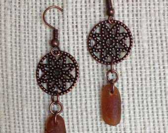 Copper Medallion Charms and Brown Sea Glass Earrings