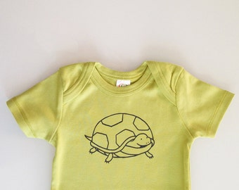 Turtle - screen printed romper - modern baby shower gift - green baby outfit size 6-12mo