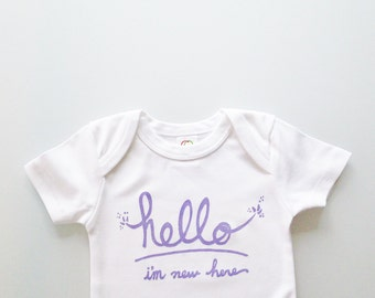 Hello I'm New Here - baby shower gift (0-3 mo - newborn - white and lilac) by egg-a-go-go