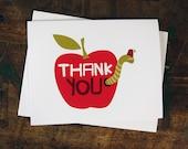 Thank You Card - Apple & Worm Teacher, Graduation