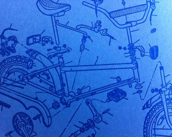 Blue bicycle letterpress card
