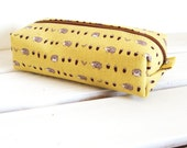 Long box pouch - hedgehog and acorns (yellow)