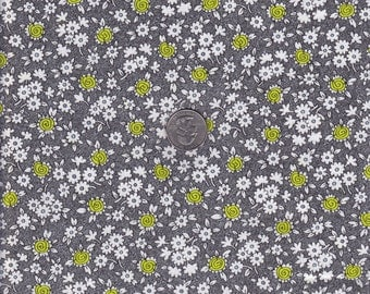 Fat quarter - Grey Flowers - Doodle by Alice Kennedy - Timeless Treasures  cotton quilt fabric