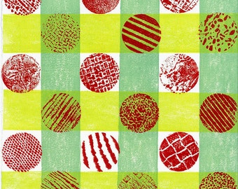 "Printmaking RELIEF LINOCUT PRINT - Plaid Dots - Abstract Print 6""x6"""