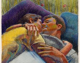 Picnic Nap Lovers Couple Love Original Monotype Art Printmaking Mixed Media DelPesco