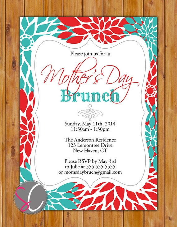 Mother's Day Brunch Invite Luncheon Celebration for