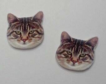 Handcrafted Plastic Striped Tabby Cat Head Stud Earrings