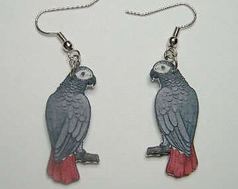 Handcrafted Plastic African Grey Parrot Earrings
