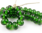 019 Transparent Sage Green Spacers - Handmade Lampwork Glass Beads 5mmx9mm - SRA (Set of 10 Spacer Beads)