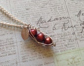 3 Peas in Red Garnet Pearls Pea Pod Necklace
