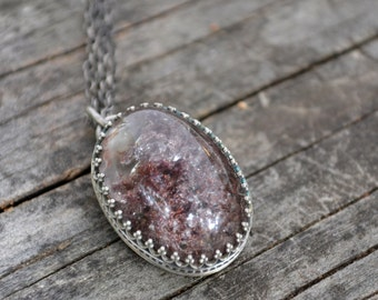 fungi necklace v2- lodolite and sterling silver