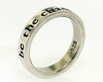 Sterling Silver Ring, THICK BAND Posey Ring, custom made ring inscribed with your message, hand stamped jewelry, silver ring