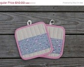 FINAL SALE - Pink and Gray Purple Tomato Pot Holders