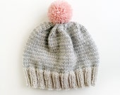 SALE The Stripe-A-Thon Hat in Platinum, Heather Grey , Bubblegum Pink - Made to Order
