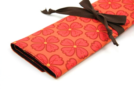 Knitting Needle Case - Clementine - IN STOCK Large Organizer 30 brown pockets for all size needles or paint brushes