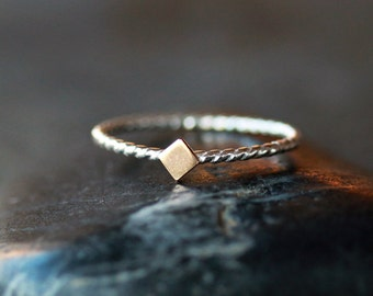 Gold Diamond Ring, Diamond Shape, 14k Gold Accent, Sterling Silver Twist, Silver Stacking Jewelry, Nautical Rope, Mixed Metal Jewelry