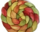 Handpainted Superwash BFL Wool Nylon 80/20 Sock Roving - 4 oz. FIELDS of FLOWERS - Spinning Fiber