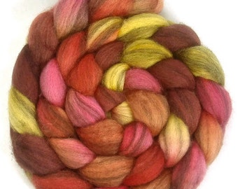 Handpainted Heathered BFL Roving - 4 oz. TIGER LILY - Spinning Fiber
