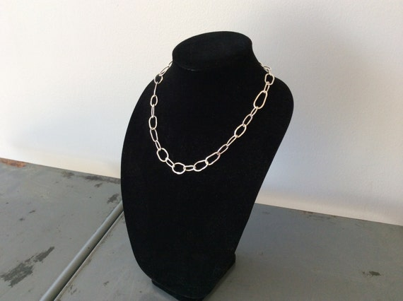 Handforged, hammered link 18 inch solid sterling silver chain - made to order