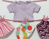 Laundry Day Sets for American Girl Doll and Bitty Baby Skirts Tee Shirt