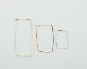 Rectangle Hammered Hoop Handmade Using Recycled Metals