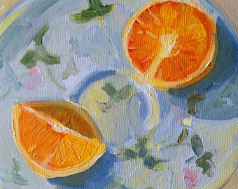 sliced orange archival print of original oil painting