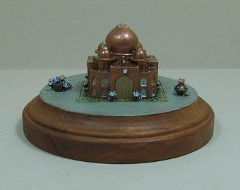 Miniature Antique Copper Fantasy Domed Palace Figurine