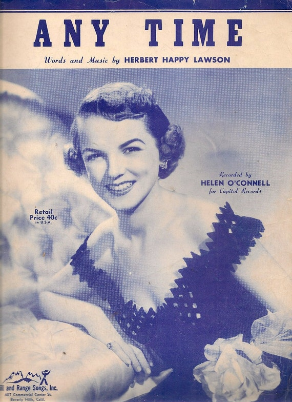Any Time - Herbert Happy Lawson - 1949 - Vintage Sheet Music