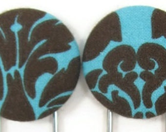 Set of 2 Jumbo Paperclips in Turquoise and Brown Damask
